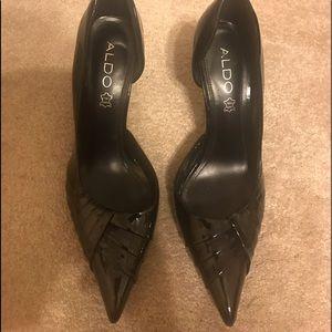 """ALDO Black Shoes Patent Leather 4"""" EU 38 US 8"""